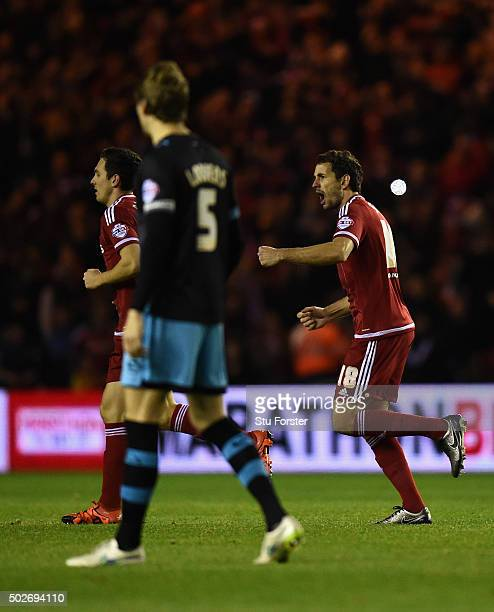 Cristhian Stuani of Middlesbrough celebrates his opening goal during the Sky Bet Championship match between Middlesbrough and Sheffield Wednesday at...