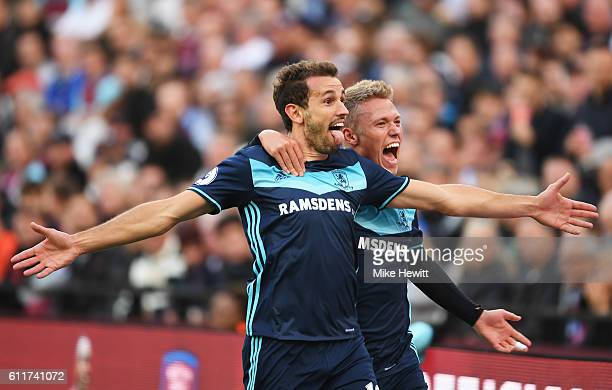 Cristhian Stuani of Middlesbrough celebrates scoring his sides first goal with Viktor Fischer of Middlesbrough during the Premier League match...