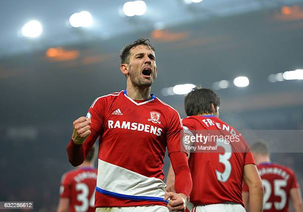 Cristhian Stuani of Middlesbrough celebrates scoring his sides first goal during the Premier League match between Middlesbrough and West Ham United...