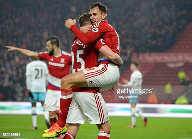 Cristhian Stuani of Middlesbrough celebrates scoring his sides first goal with Calum Chambers of Middlesbrough during the Premier League match...