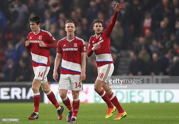 Cristhian Stuani of Middlesbrough celebrates scoring his sides first goal with Adam Forshaw of Middlesbrough during the Premier League match between...