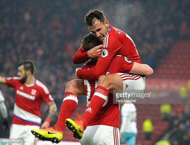 Cristhian Stuani of Middlesbrough celebrates scoring their first goal with Calum Chambers of Middlesbrough during the Premier League match between...