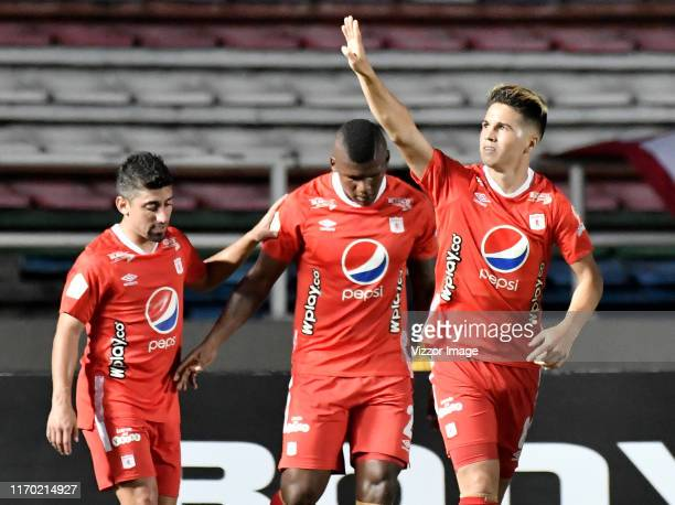 Cristian Alvarez of America celebrates after scoring the first goal of his team during a match between America de Cali and Envigado as part of Torneo...