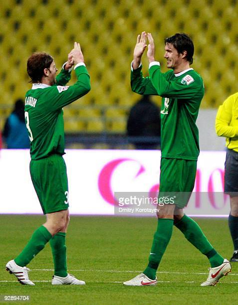 Cristian Ansaldi and 2 of FC Rubin Kazan celebrate after victory over PFC CSKA Moscow in the Russian Football League Championship match between PFC...