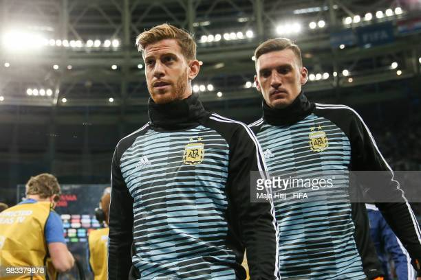 Cristian Ansaldi and Giovani Lo Celso of Argentina leave the pitch after the 2018 FIFA World Cup Russia group D match between Argentina and Croatia...