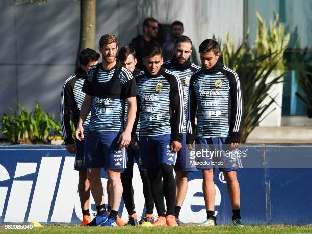 Cristian Ansaldi Eduardo Salvio Gonzalo Higuain and Paulo Dybala of Argentina during a training sessionnn as part of the preparation to FIFA Russia...