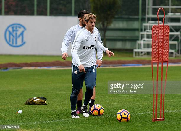 Cristian Ansaldi in action during the FC Internazionale training session at the club's training ground at Appiano Gentile on October 24 2016 in Como...