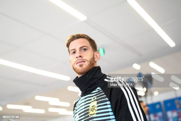 Cristian Ansaldi of Argentina arrives prior to the 2018 FIFA World Cup Russia group D match between Argentina and Croatia at Nizhny Novgorod Stadium...