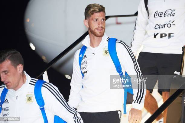 Cristian Ansaldi of Argentina football team player arrives to compete in the 2018 World Cup at Zhukovsky airport on June 9 2018 in Moscow Russia