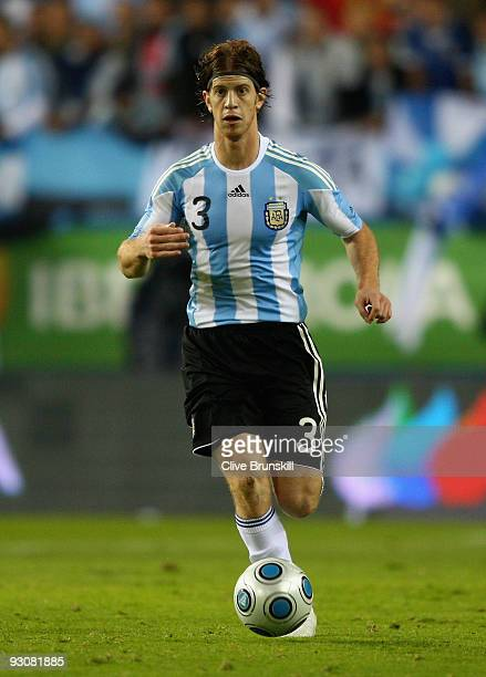 Cristian Ansaldi of Argentina in action during the friendly International football match Spain against Argentina at the Vicente Calderon stadium in...