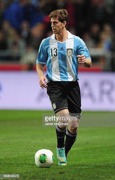 Cristian Ansaldi of Argentina in action during the International Friendly match between Sweden and Argentina at the Friends Arena on February 6 2013...