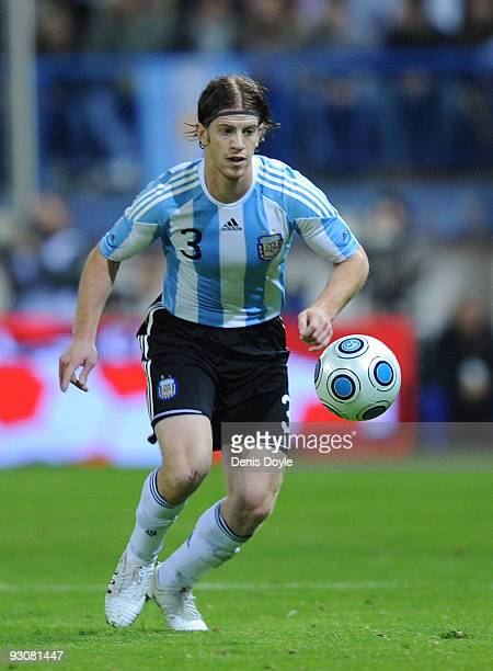 Cristian Ansaldi of Argentina in action during the International friendly match between Argentina and Spain at the Vicente Calderon stadium on...
