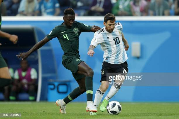 Cristian Ansaldi of Argentina John Obi Mikel of Nigeria during the 2018 FIFA World Cup Russia group D match between Nigeria and Argentina at the...