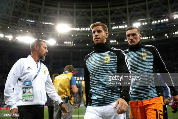 Cristian Ansaldi of Argentina leaves the pitch during the 2018 FIFA World Cup Russia group D match between Argentina and Croatia at Nizhny Novgorod...