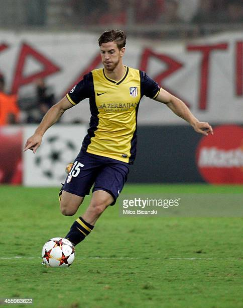 Cristian Ansaldi of Club Atletico de Madrid in action during the UEFA Champions League Group A match between Olympiakos and Atletico Madrid at...