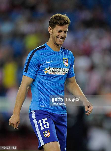 Cristian Ansaldi of Club Atletico de Madrid looks on during warmup before the Supercopa second leg match between Club Atletico de Madrid and Real...