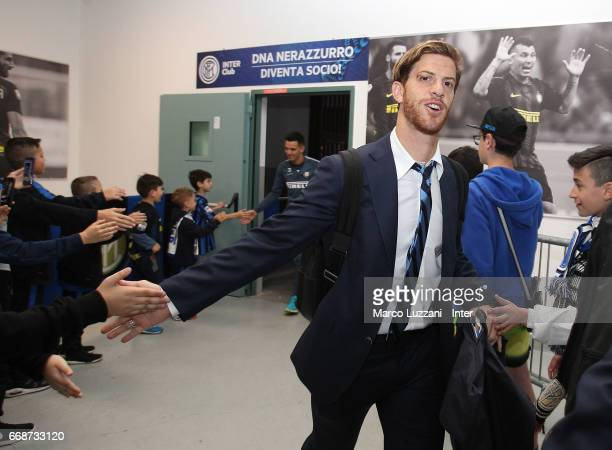 Cristian Ansaldi of FC Internazionale arrives prior to the Serie A match between FC Internazionale and AC Milan at Stadio Giuseppe Meazza on April 15...