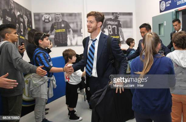Cristian Ansaldi of FC Internazionale arrives prior to the Serie A match between FC Internazionale and US Sassuolo at Stadio Giuseppe Meazza on May...