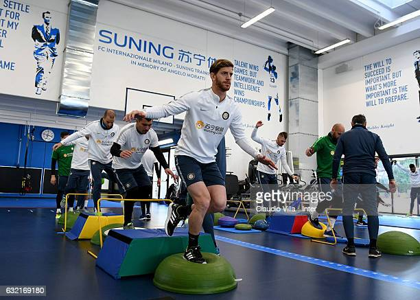 Cristian Ansaldi of FC Internazionale in action during a FC Internazionale training session at Suning Training Center at Appiano Gentile on January...