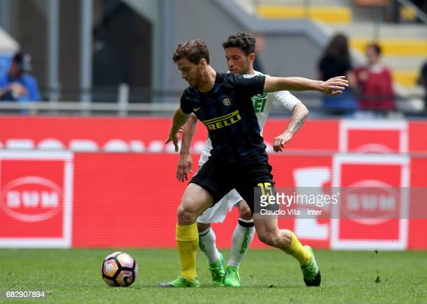 Cristian Ansaldi of FC Internazionale in action during the Serie A match between FC Internazionale and US Sassuolo at Stadio Giuseppe Meazza on May...