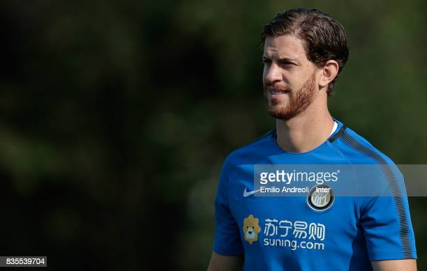 Cristian Ansaldi of FC Internazionale Milano looks on during the FC Internazionale training session at the club's training ground Suning Training...