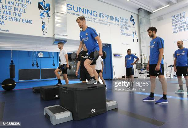 Cristian Ansaldi of FC Internazionale trains in the gym during the FC Internazionale training session at the club's training ground Suning Training...