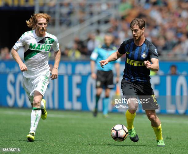 Cristian Ansaldi of Inter player and Davide Biondini of Sassuolo player during the Serie A match between FC Internazionale and US Sassuolo at Stadio...