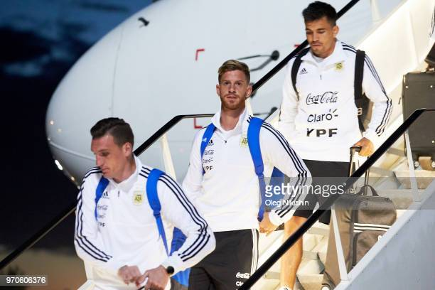 Cristian Ansaldi of the Argentina football team player arrives to compete in the 2018 World Cup at Zhukovsky airport on June 9 2018 in Moscow Russia