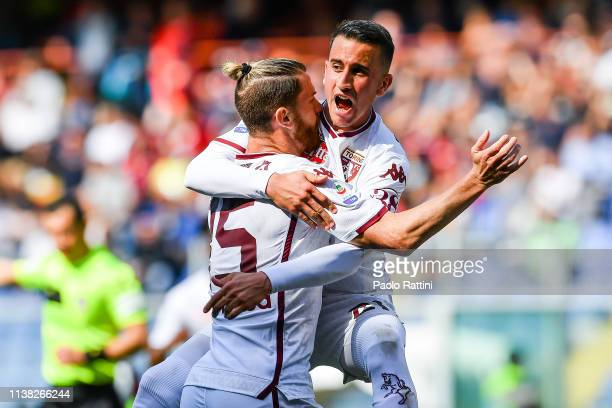 Cristian Ansaldi of Torino celebrates with his teammate Alejandro Berenguer after scoring a goal during the Serie A match between Genoa CFC and...