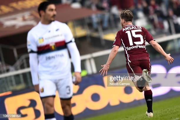 Cristian Ansaldi of Torino FC celebrates after scoring a goal during the Serie A football match between Torino FC and Genoa CFC Torino FC won 21 over...