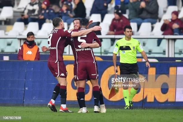 Cristian Ansaldi of Torino FC celebrates his goal with team mates Andrea Belotti and Armando Izzo during the Serie A match between Torino FC and...