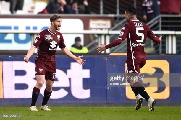 Cristian Ansaldi of Torino FC celebrates with Armando Izzo after scoring a goal during the Serie A football match between Torino FC and Genoa CFC...