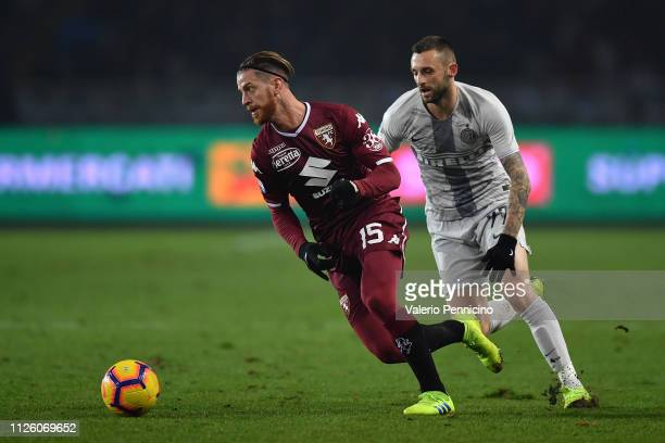 Cristian Ansaldi of Torino FC in action against Marcelo Brozovic of FC Internazionale during the Serie A match between Torino FC and FC...
