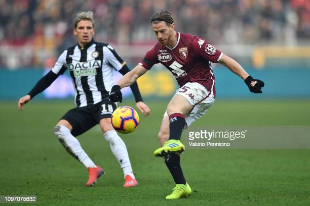 Cristian Ansaldi of Torino FC in action during the Serie A match between Torino FC and Udinese at Stadio Olimpico di Torino on February 10 2019 in...