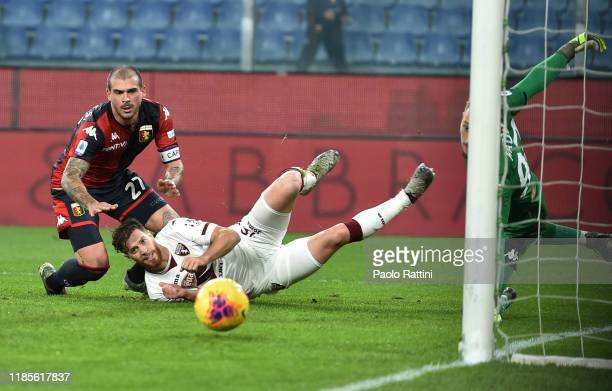 Cristian Ansaldi of Torino FC shoots towards goal during the Serie A match between Genoa CFC and Torino FC at Stadio Luigi Ferraris on November 30...