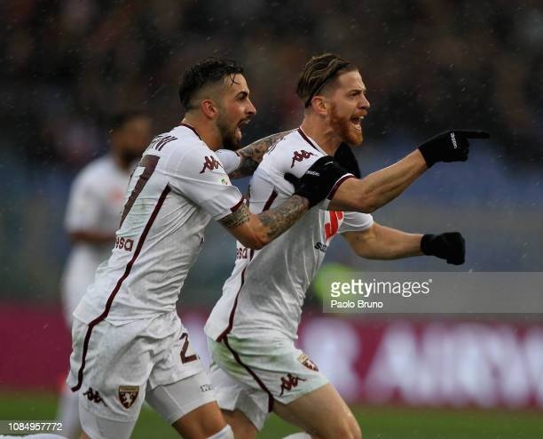 Cristian Ansaldi with his teammate Vittorio Parigini of Torino FC celebrate after scoring the team's second goal during the Serie A match between AS...