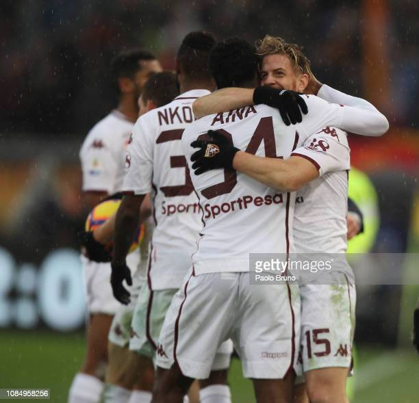 Cristian Ansaldi with his teammates of Torino FC celebrate after scoring the team's second goal during the Serie A match between AS Roma and Torino...