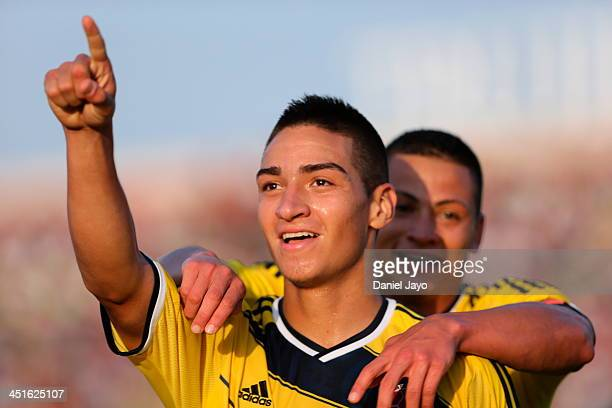 Cristian Arango of Colombia celebrates after scoring during a match against Guatemala in soccer U18 event as part of the XVII Bolivarian Games...