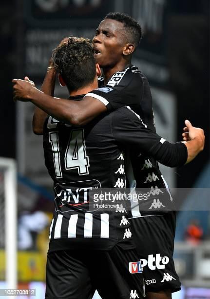 Cristian Benavente midfielder of Charleroi celebrates scoring the opening goal with Adama Niane forward of Charleroi during the Jupiler Pro League...