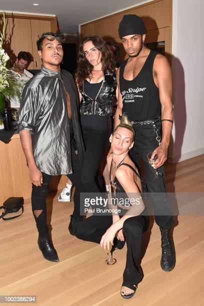 Cristian Bobby Victoria de Lesseps Airik Henderson and Linux attend Brian Feit's 40th Birthday Party at 550 West 29th Street on July 19 2018 in New...