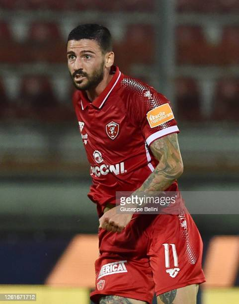 Cristian Bonaiuto of AC Perugia looks on during the serie B match between AC Perugia and Trapani Calcio at Stadio Renato Curi on July 27, 2020 in...