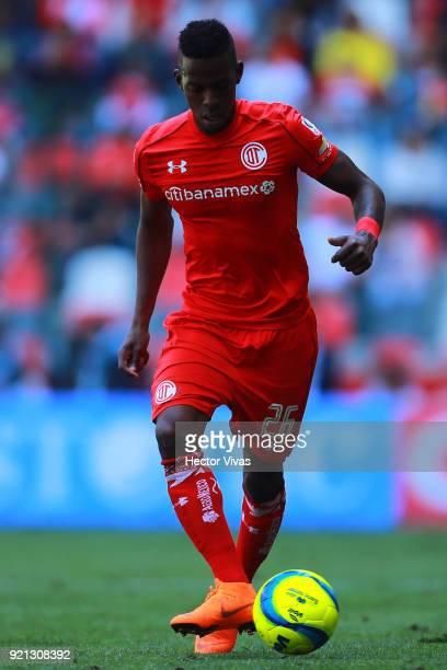 Cristian Borja of Toluca kicks the ball during the 8th round match between Toluca and Santos Laguna as part of the Torneo Clausura 2018 Liga MX at...