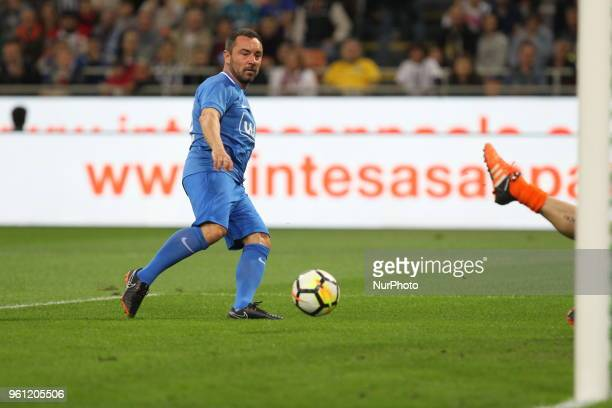 Cristian Brocchi scores during quotLa partita del Maestroquot the farewell match by Andrea Pirlo at Giuseppe Meazza stadium on May 21 2018 in Milan...
