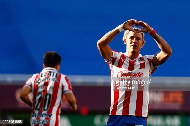 Cristian Calderon of Chivas celebrates safter scoring his team's second goal during the 5th round match between Chivas and Atletico San Luis as part...