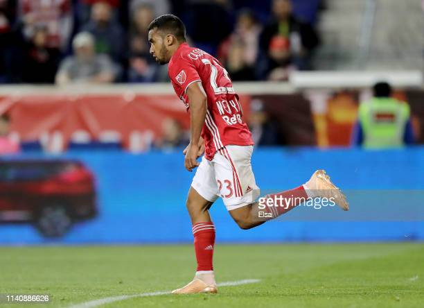 Cristian Casseres Jr of New York Red Bulls celebrates his goal in the second half against the Minnesota United at Red Bull Arena on April 06 2019 in...
