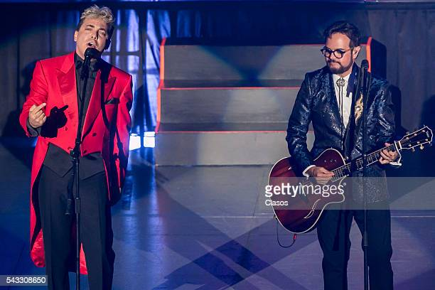 Cristian Castro and Aleks Syntek perform during a concert at Auditorio Nacional on June 24 2016 in Mexico City Mexico