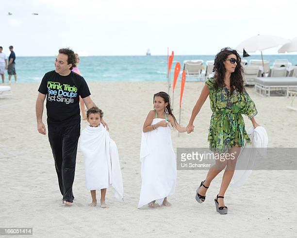 Cristian Castro his ex wife Valeria Liberman their daughter Simone Castro and son Mikhail Castro are sighted on April 7 2013 in Miami Beach Florida