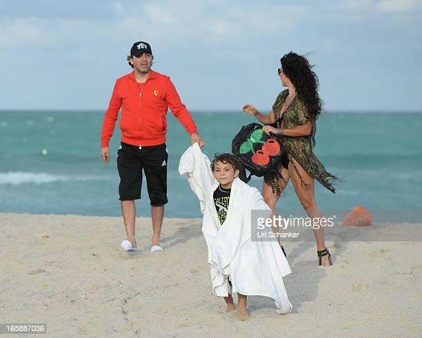 Cristian Castro Mikhail Castro and Valeria Liberman are sighted on April 6 2013 in Miami Beach Florida
