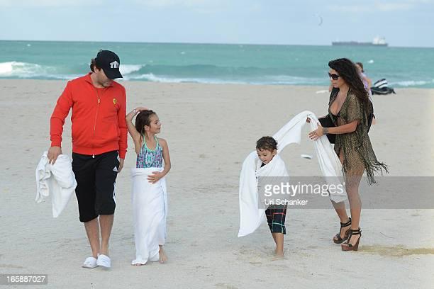 Cristian Castro Simone Castro Mikhail Castro and Valeria Liberman are sighted on April 6 2013 in Miami Beach Florida