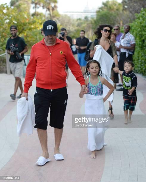 Cristian Castro Simone Castro Valeria Liberman and Mikhail Castro are sighted on April 6 2013 in Miami Beach Florida